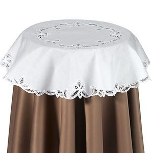 "Battenburg Lace Table Topper White 31"" Round"